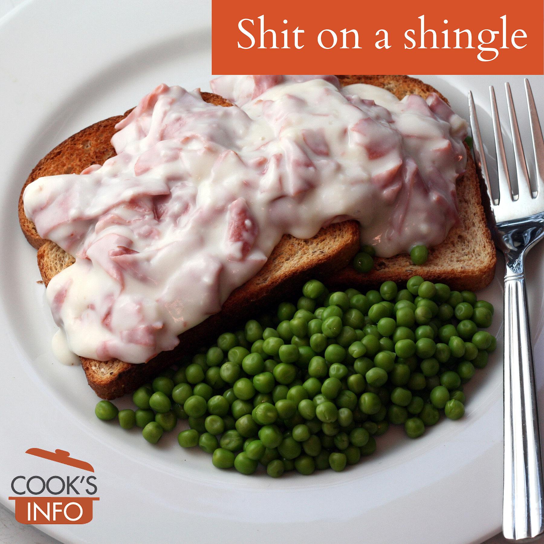 Shit on a shingle on a plate