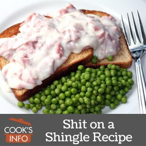 Shit on a shingle with peas