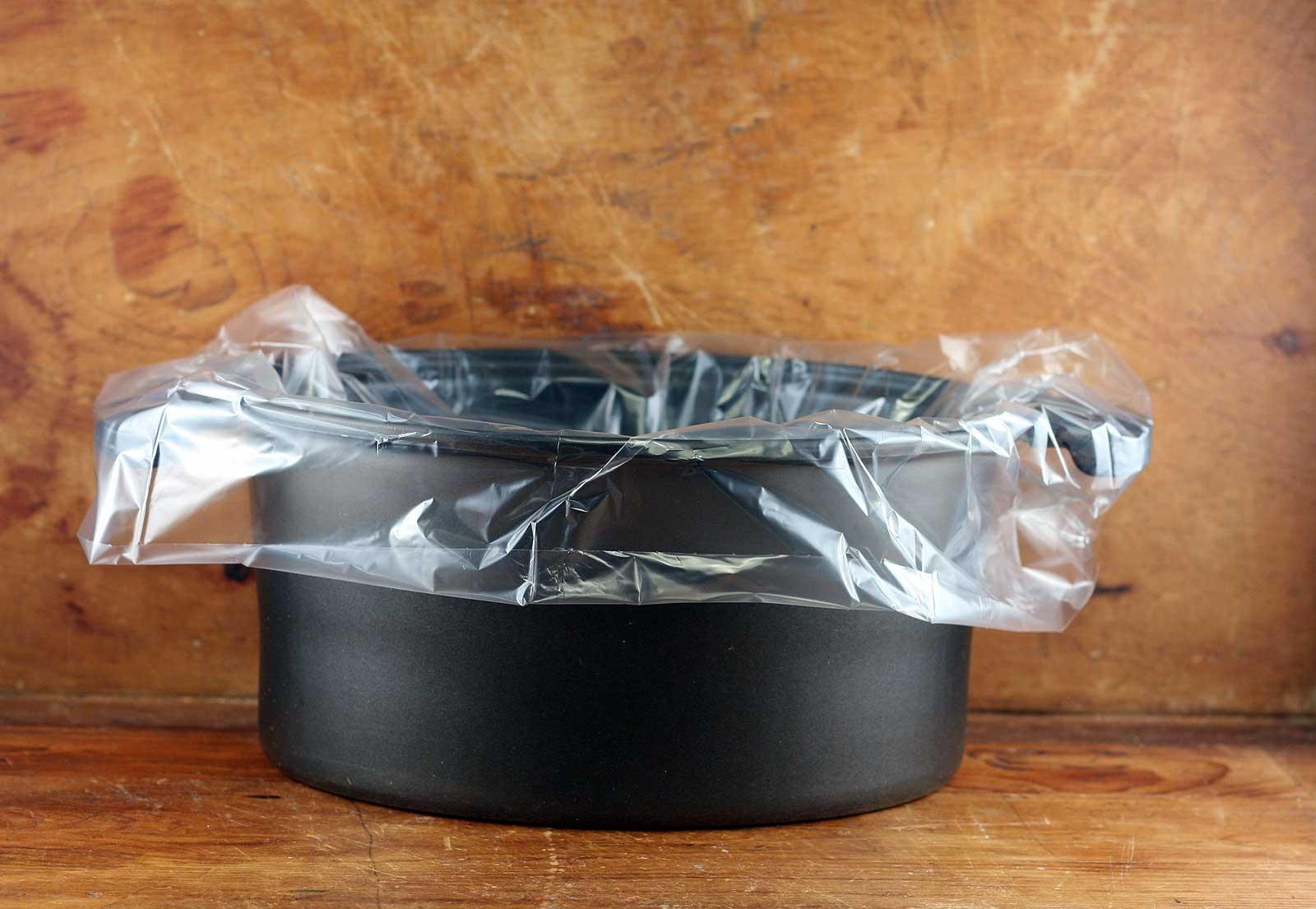 Slow cooker liner on slow cooker crock