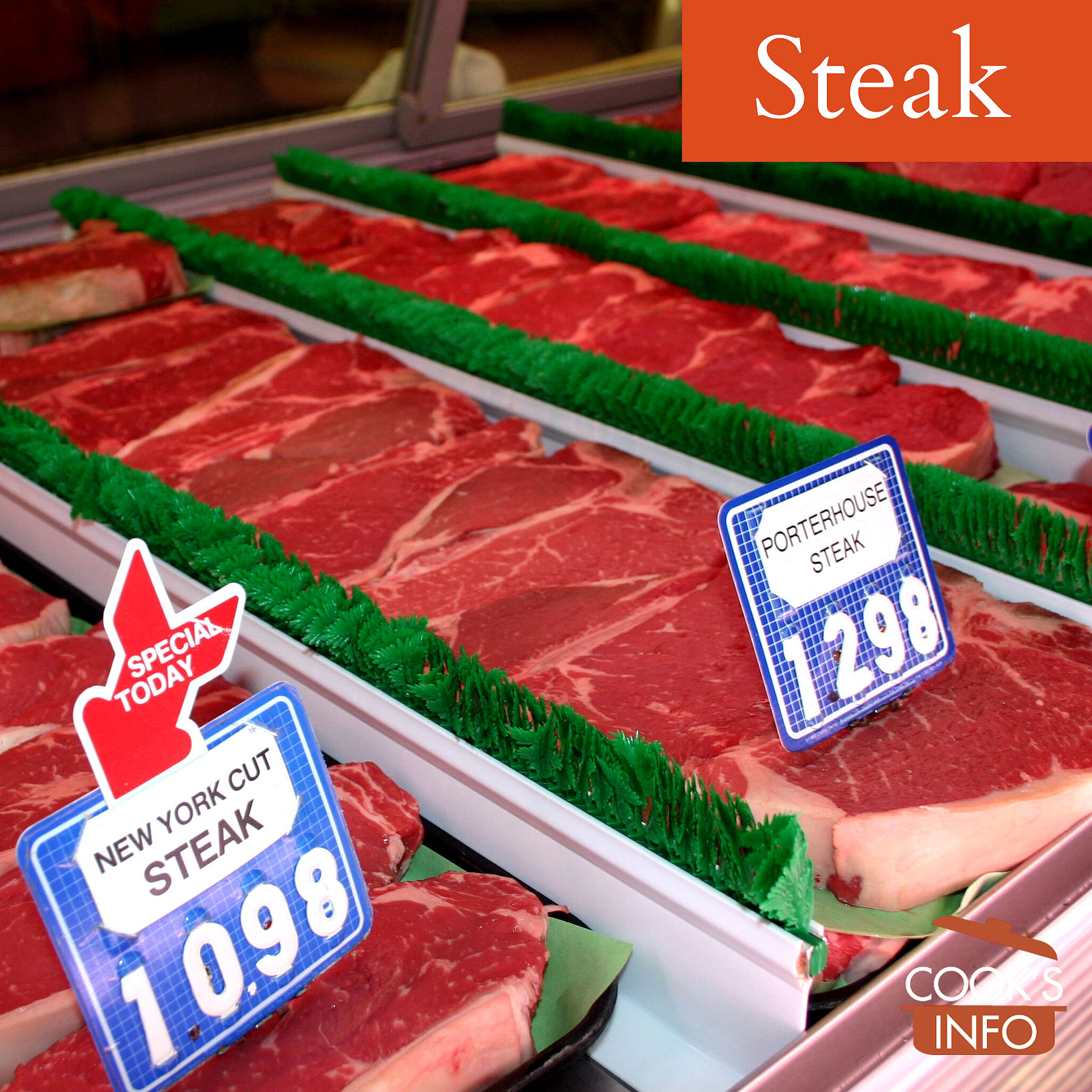 Raw steaks for sale at butcher counter