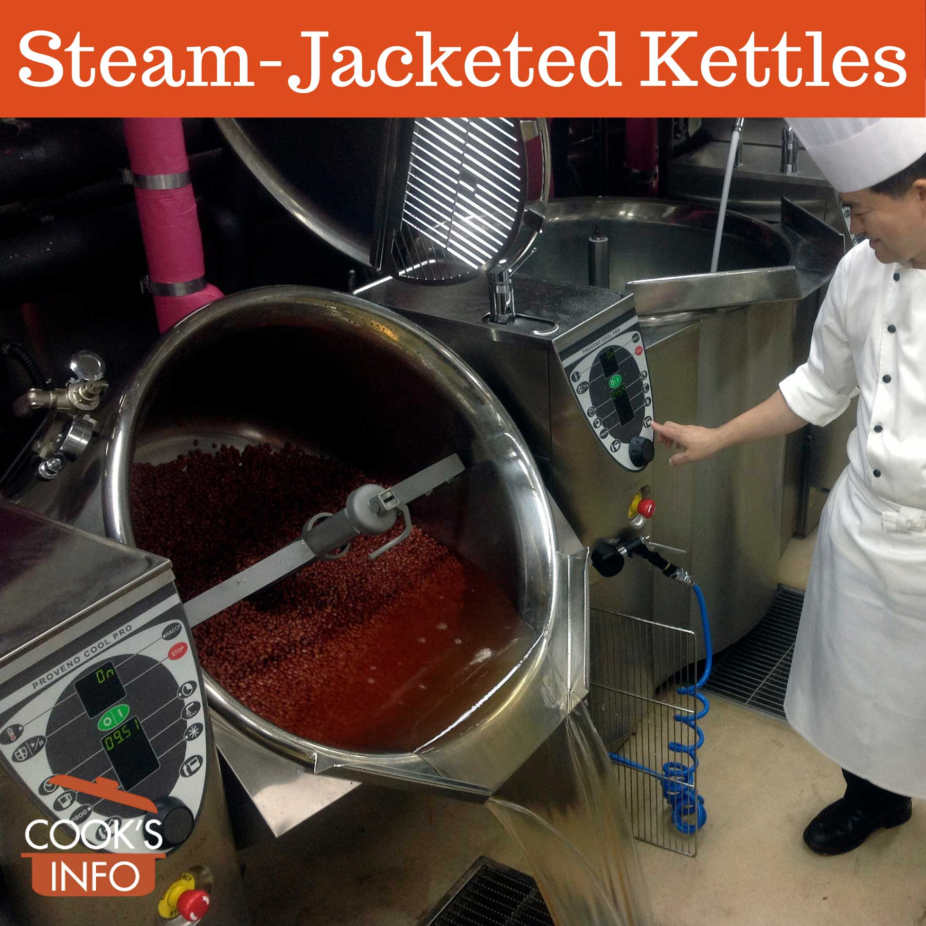 Cooking red beans in a steam-jacketed kettle