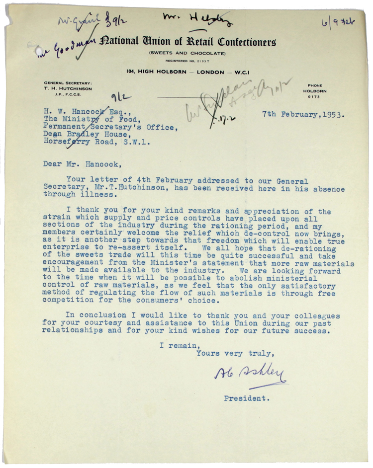 A. C. Ashley, President, National Union of Retail Confectioners (Sweets and Chocolate). Letter to H.W. Hancock, The Ministry of Food. 7 February 1953.