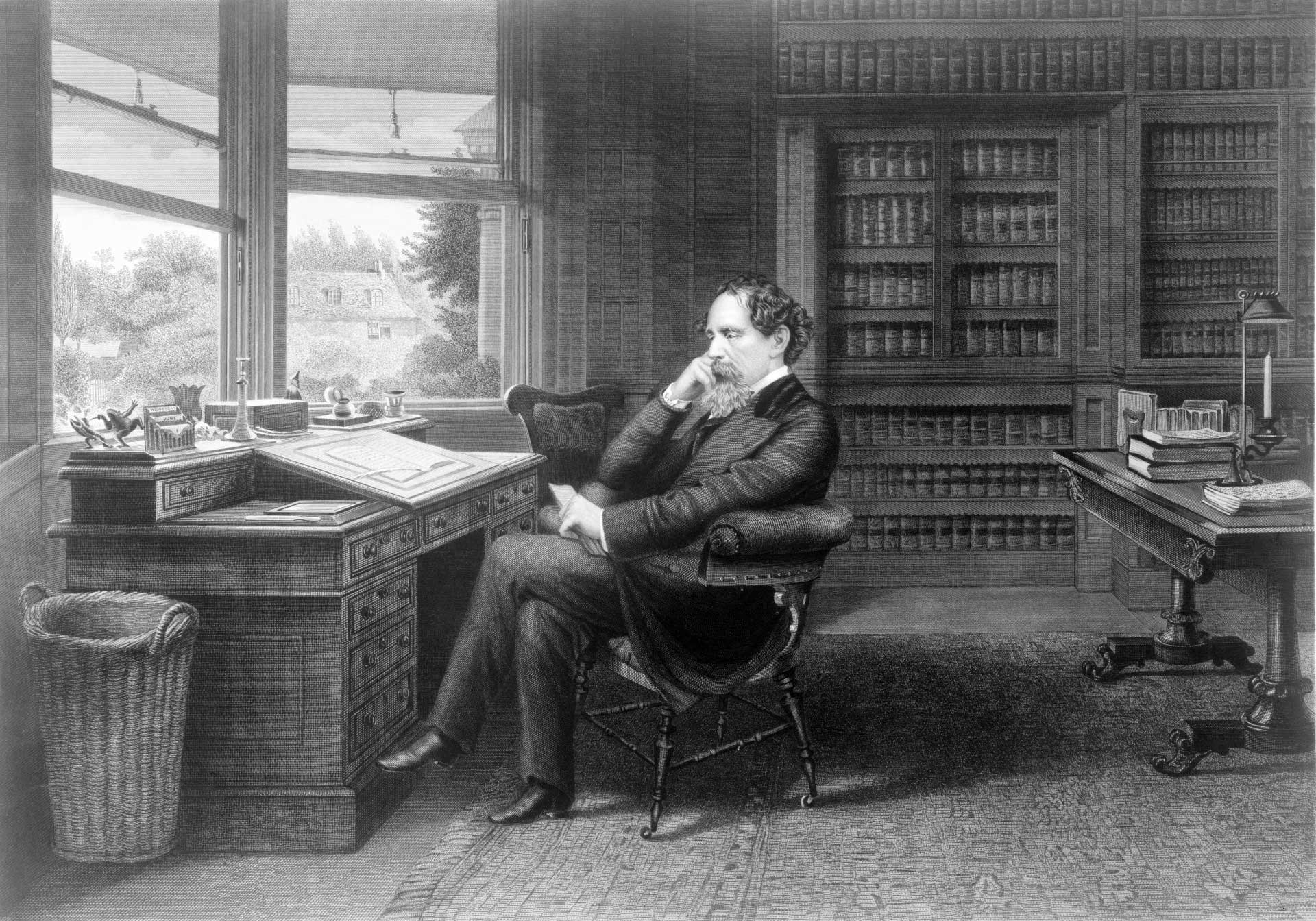 Charles Dickens in his study.