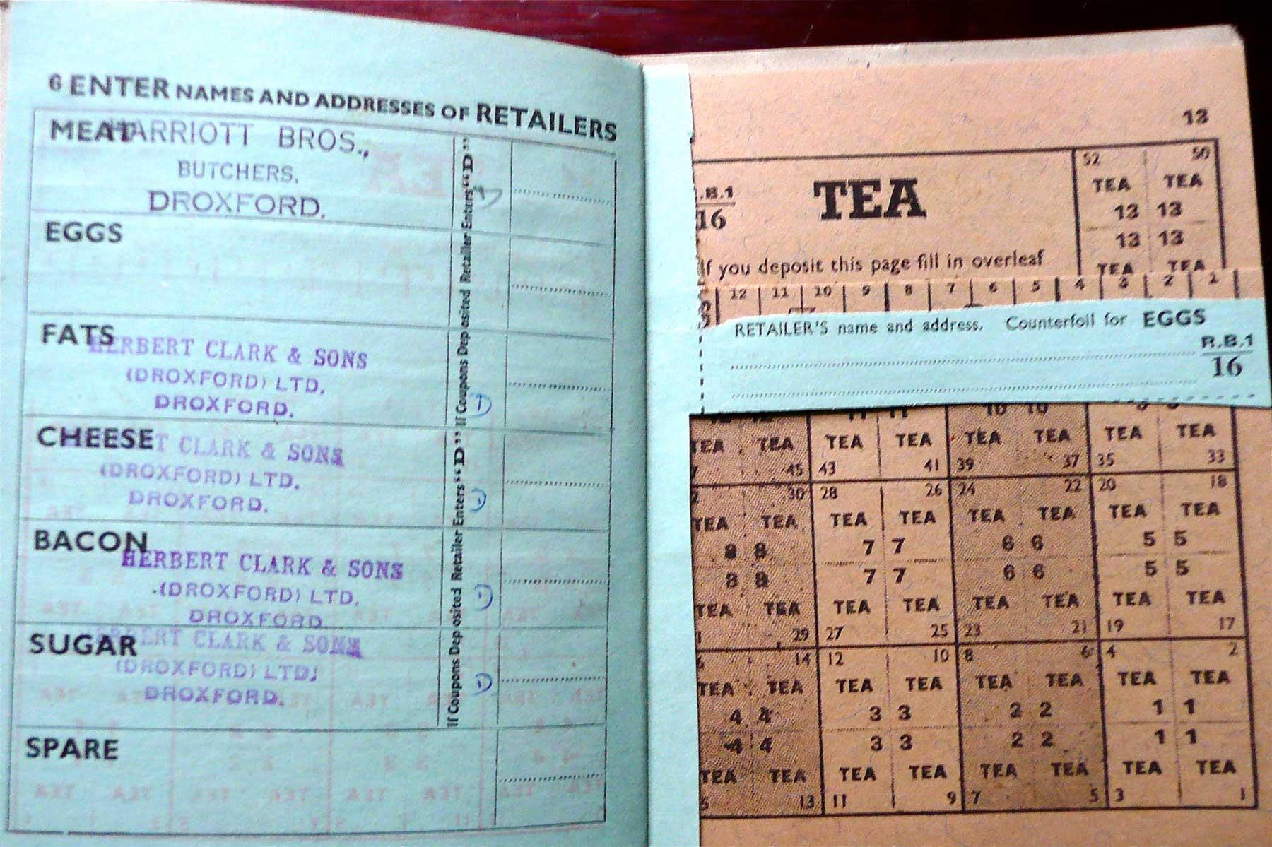 WWII Tea ration coupons UK