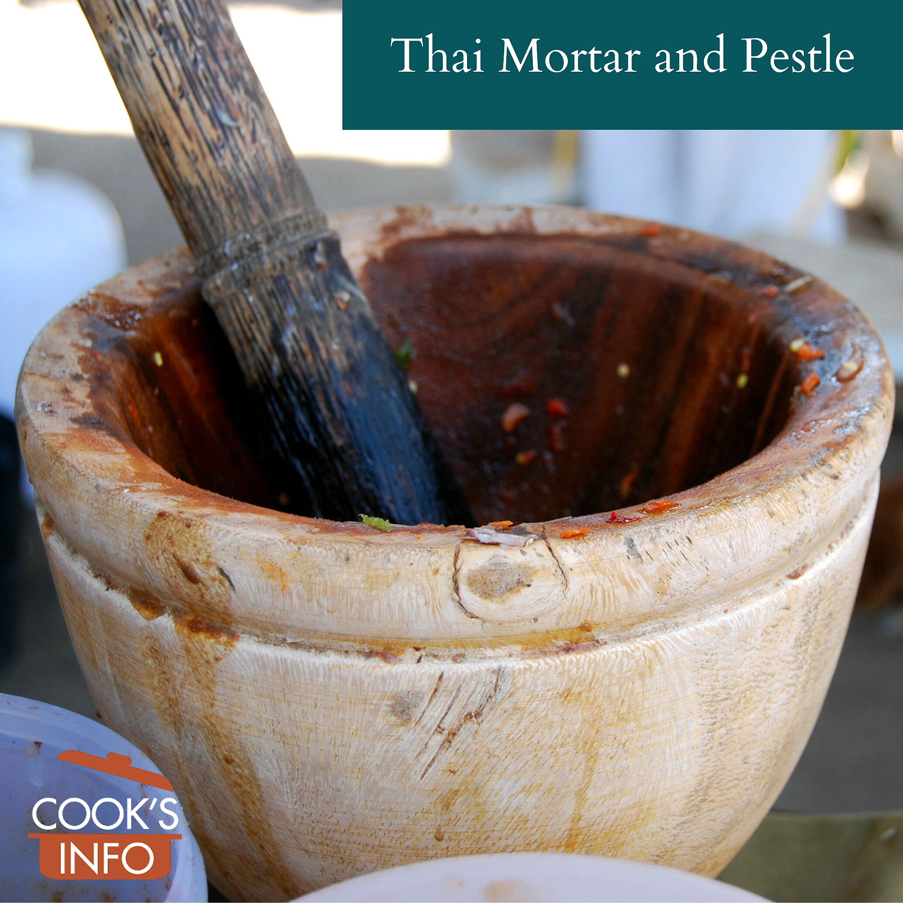 Wooden Thai mortar and pestle