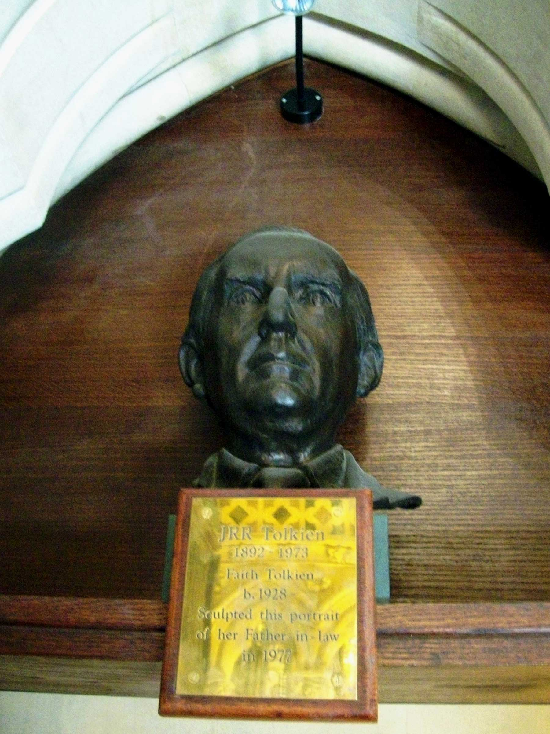 Bust of JRR Tolkien at Exeter College Chapel, Oxford