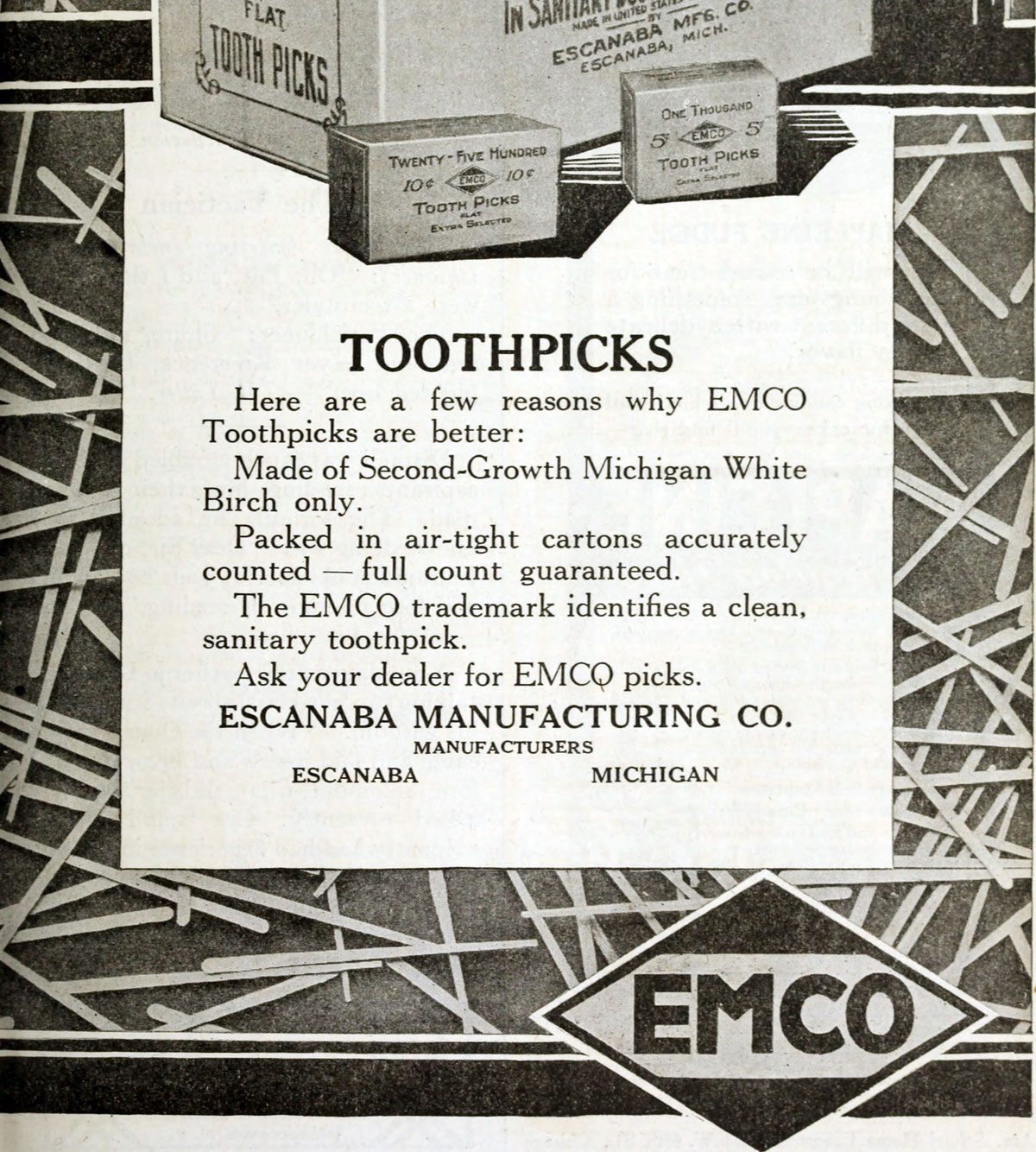 Toothpick advertisement 1914