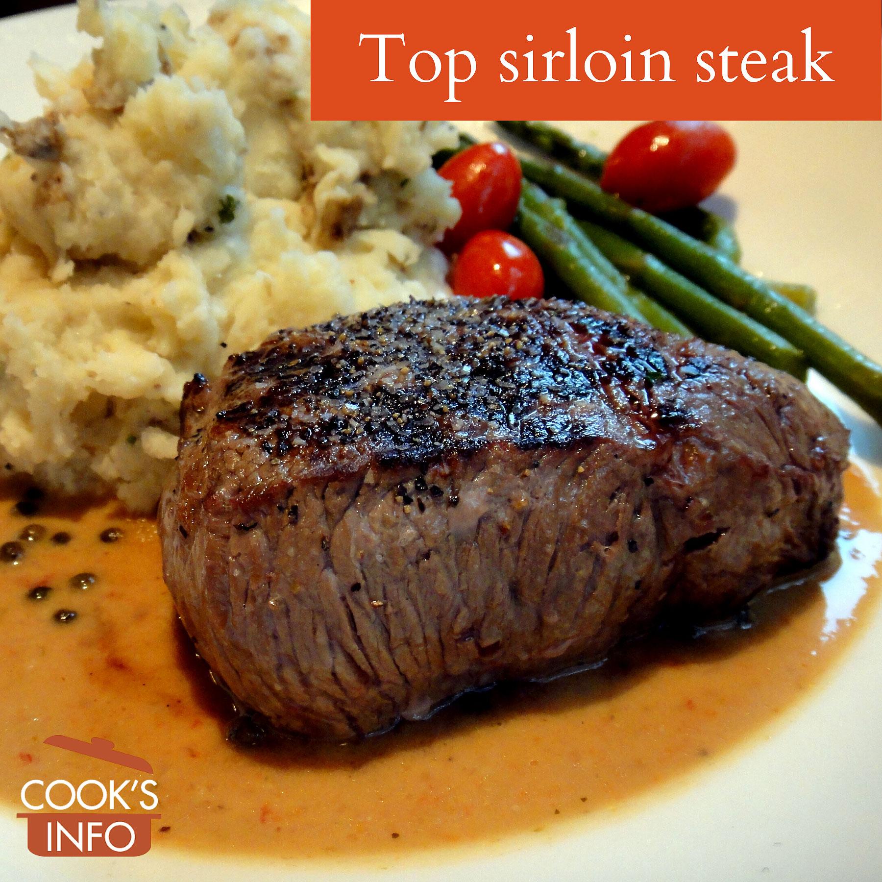 Top sirloin steak, with peppercorn sauce