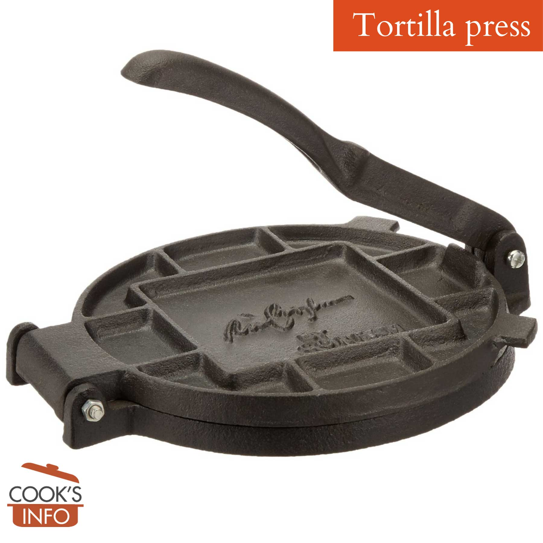 Cast iron tortilla press, Ricky Bayless model