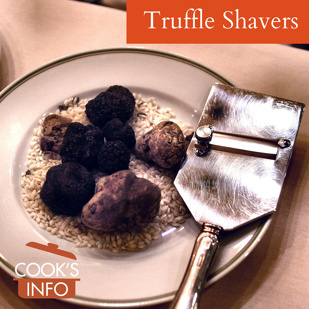 Truffles and slicer on plate.