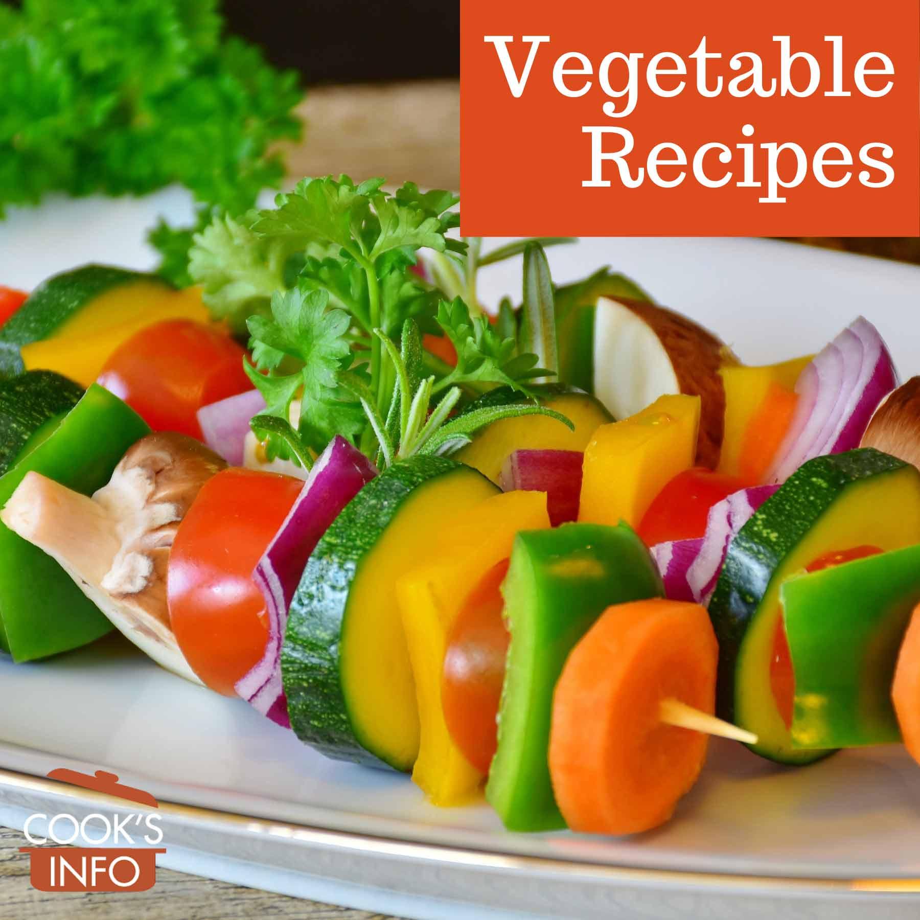 Raw sliced vegetables on skewers