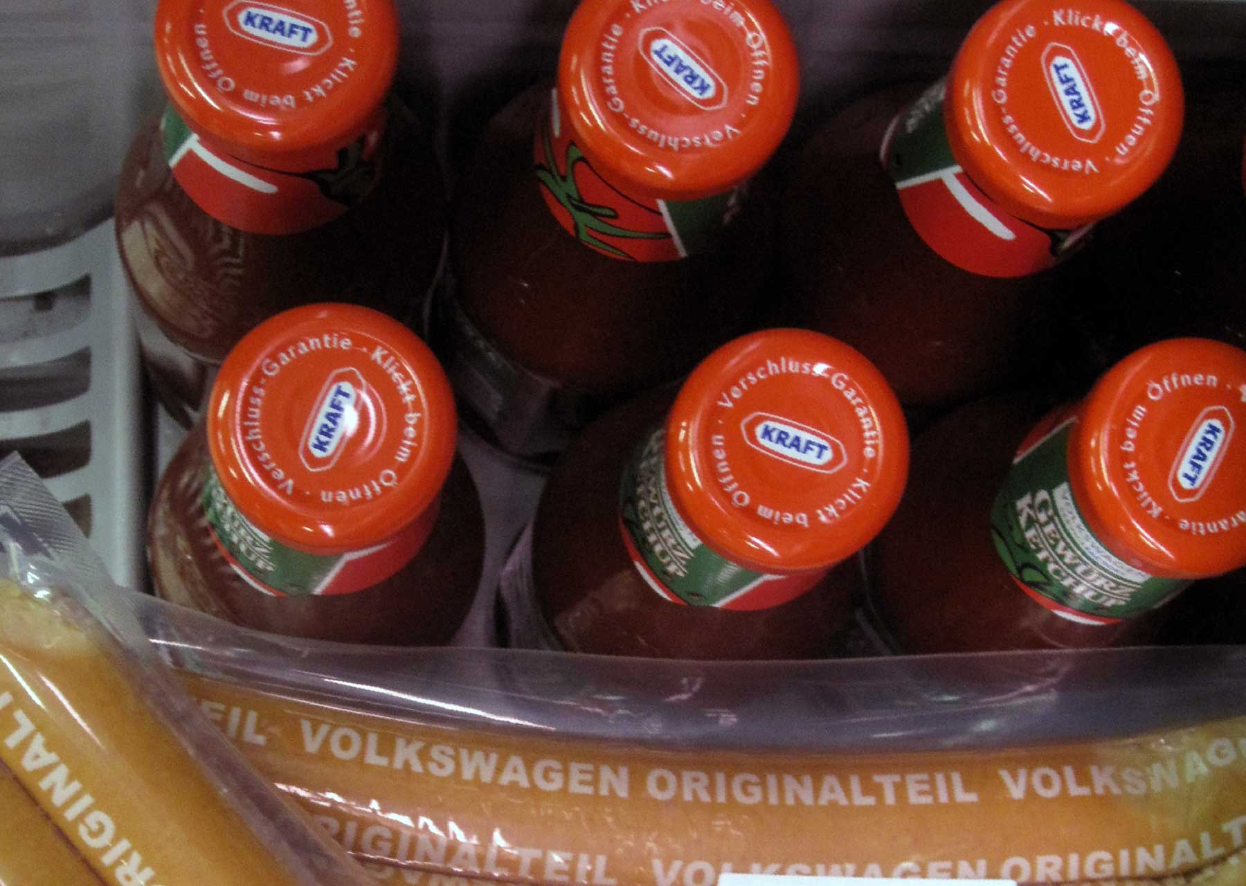 Volkswagen Ketchup jars showing Kraft name on lids