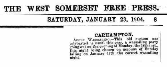 Wassailing mention in 1904