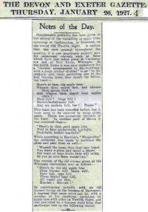 1927 newspaper mention of wassailing