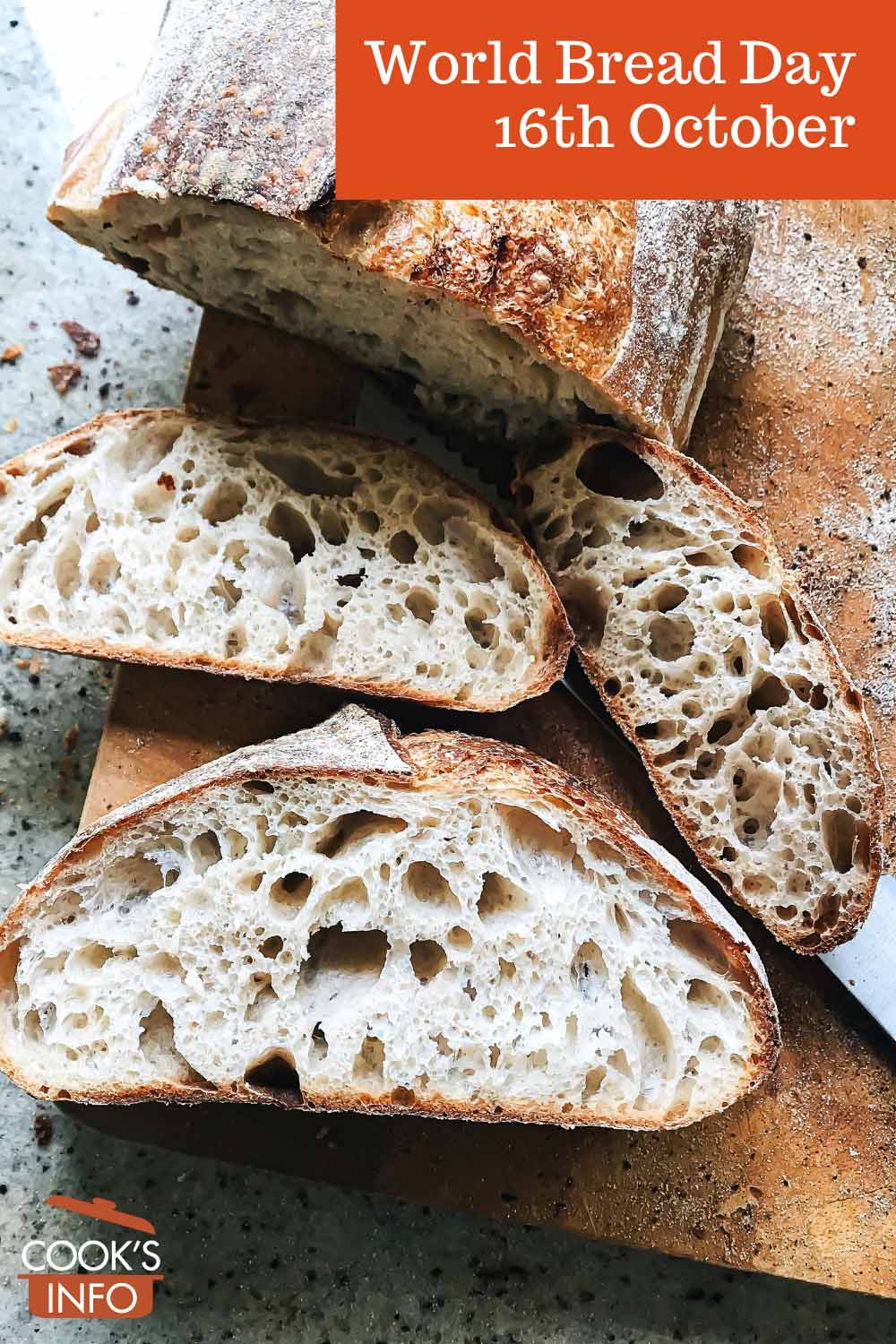 Slices of sourdough bread with large open crumb