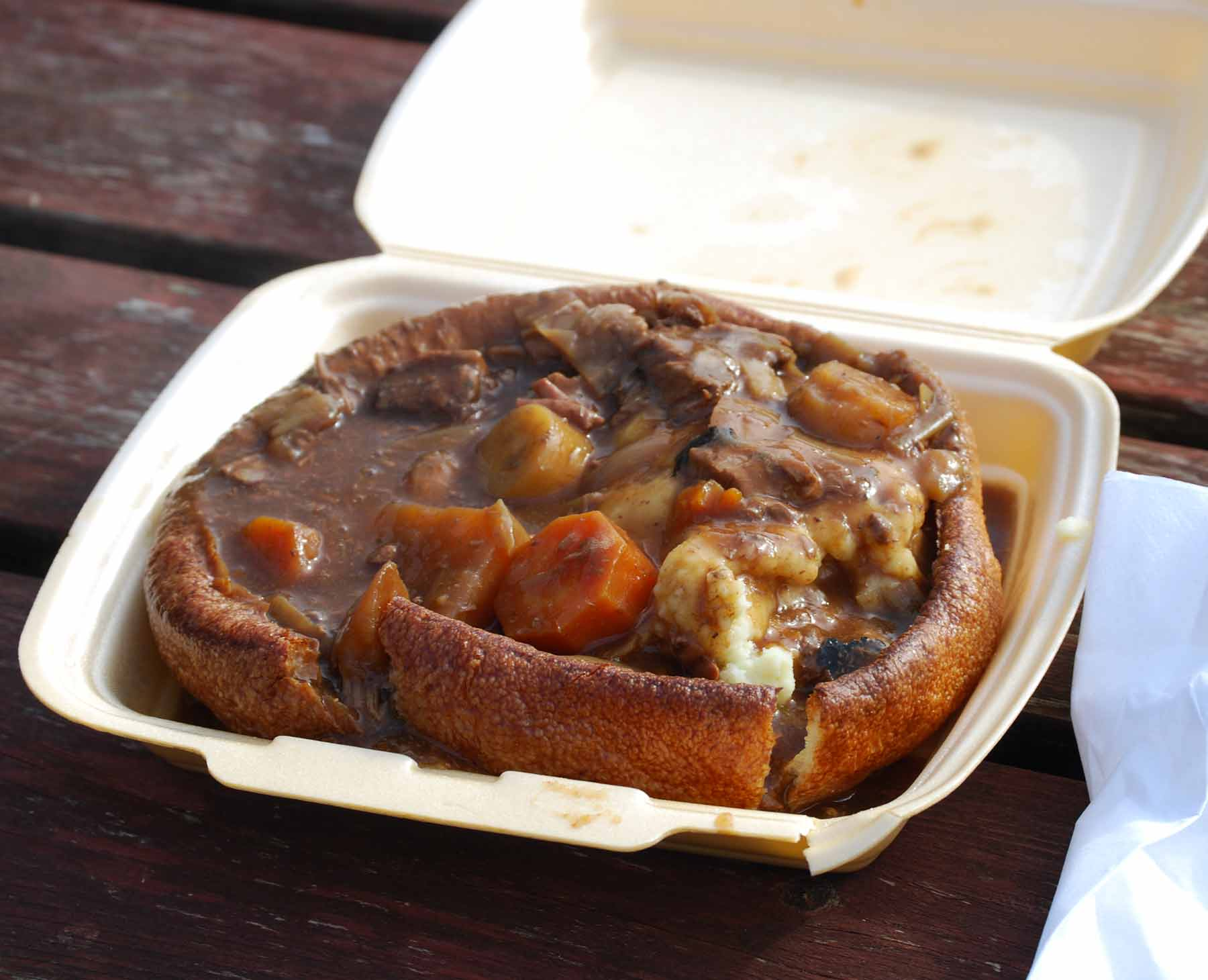 A large Yorkshire pudding acting as a bowl