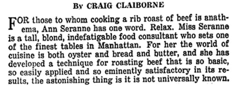 Craig Claiborne writing about Ann Seranne