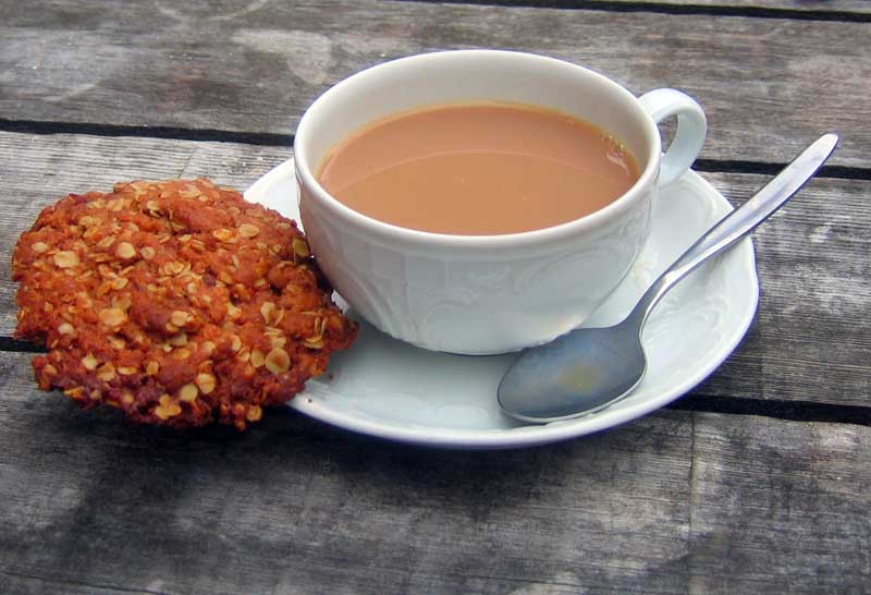 Anzac Biscuit with tea