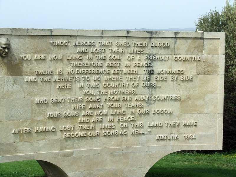 Plaque at Anzac Cove, Gallipoli