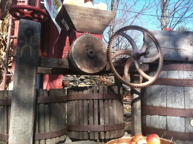 Older apple press made by the Ames Plow Company in Boston, Massachusetts