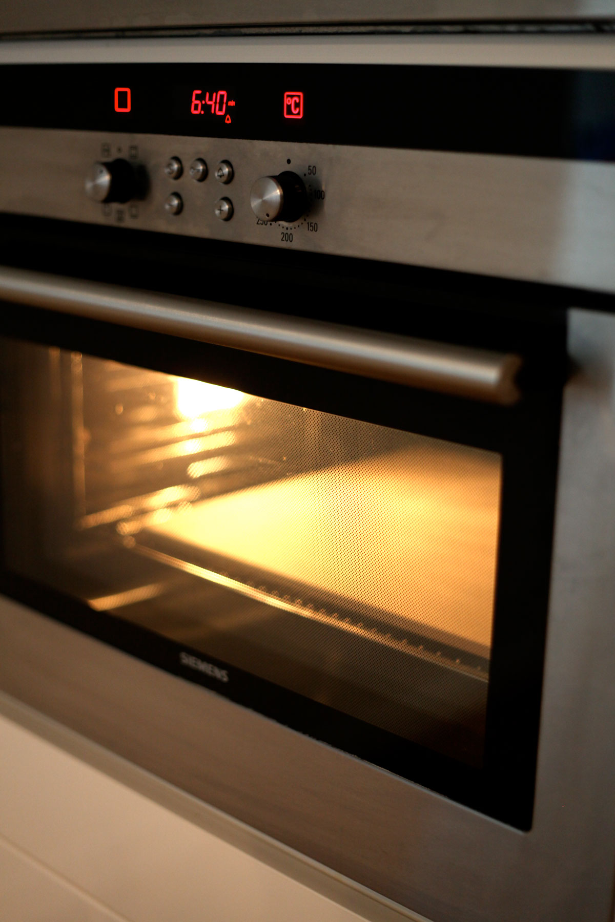 Baking stone heating in oven