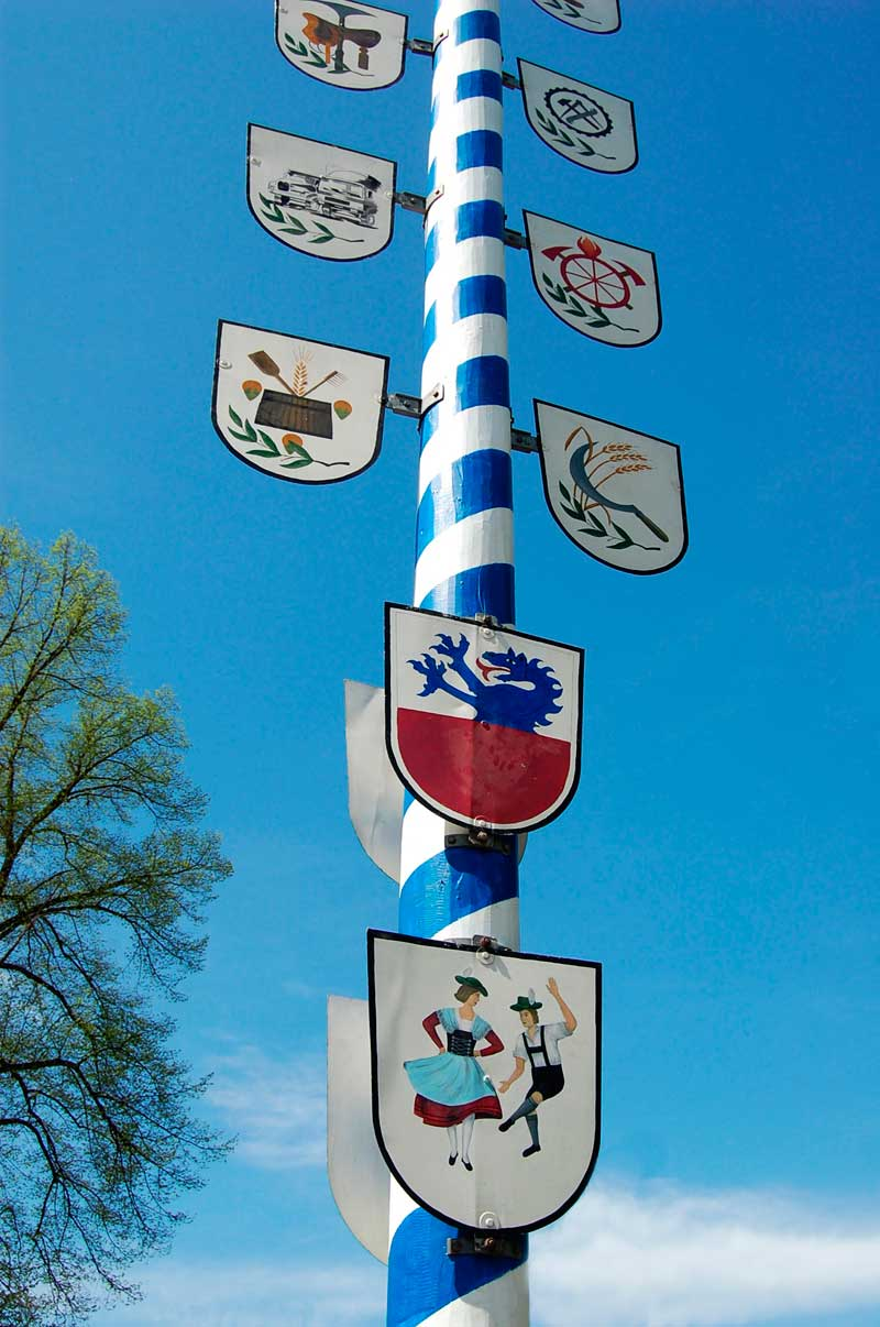 Permanent painted maypole in Bavaria, Germany.