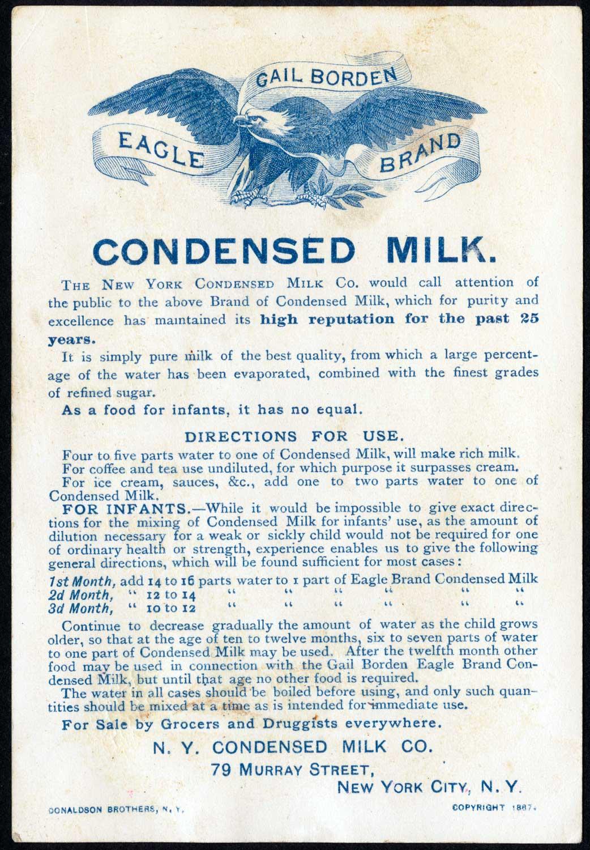 Borden condensed milk leaflet 1887