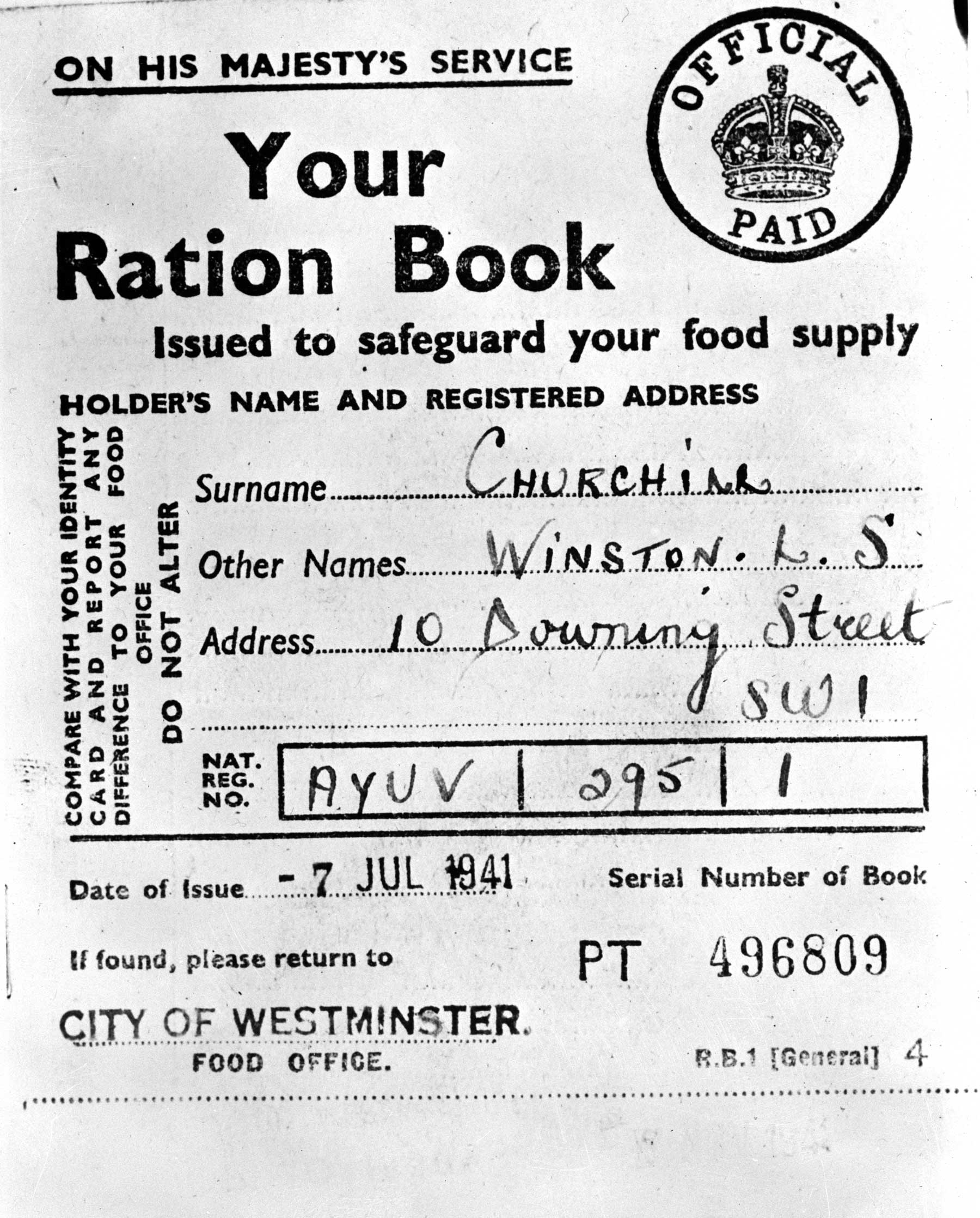 A page from Winston Churchill's ration book, 1941