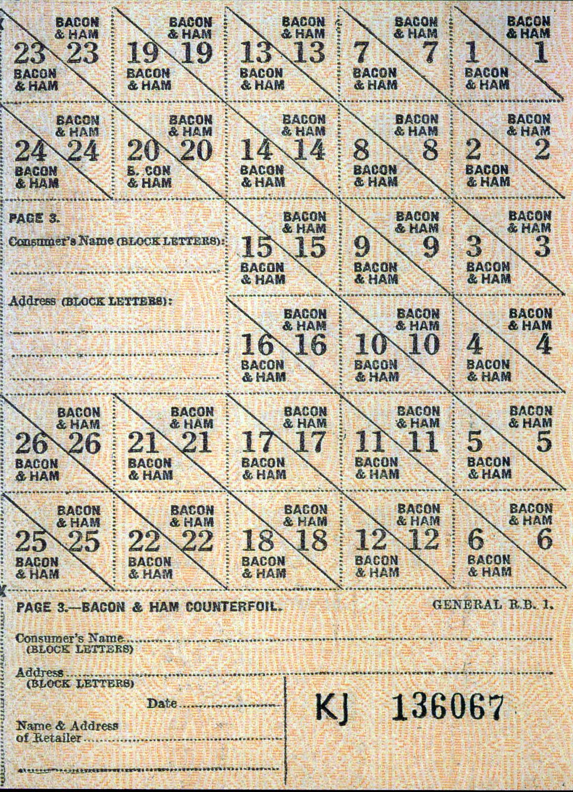 WW2 British ration coupons for bacon and ham