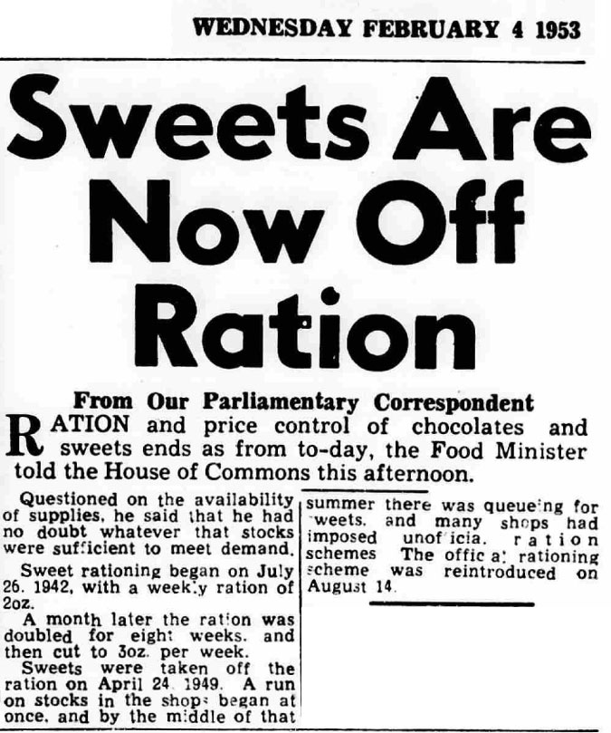 Sweets are now off-ration. Aberdeen, Scotland: Evening Express. 4 February 1953. Page 1, col. 5