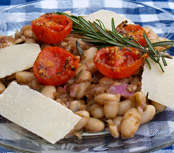 Cannellini Salad with Shaved Parmesan and Roasted Tomatoes Recipe