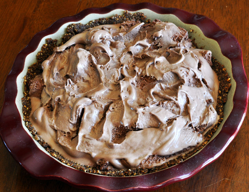 Chocolate ice cream pie with almond crust
