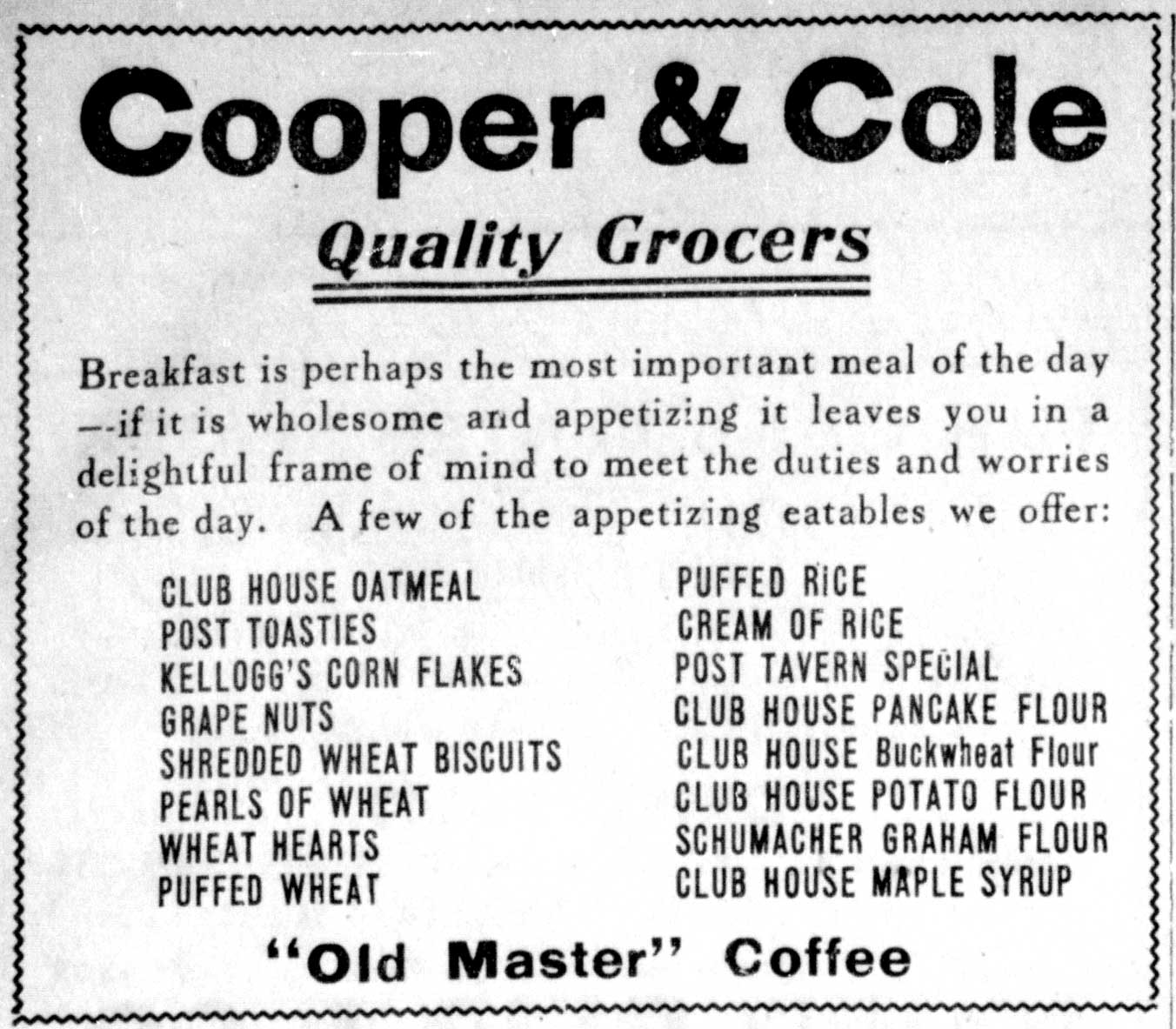 Advertisement of Cream of Rice for sale