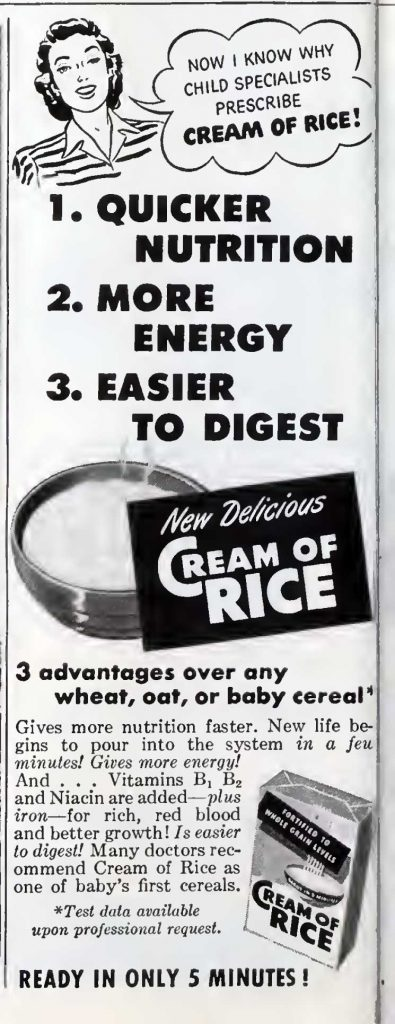Cream of rice advertisement 1948