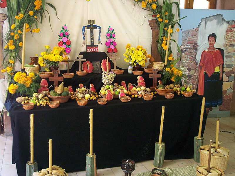 Day of the Dead food altar