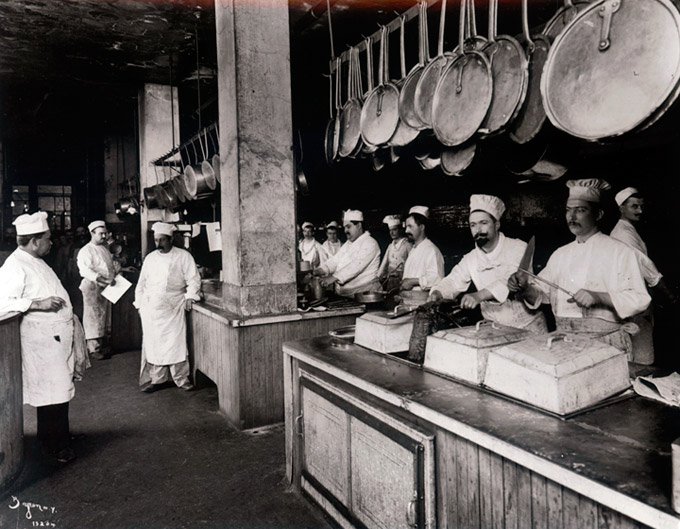 Workers in the kitchen at a Delmonico's Restaurant, New York City. 1902. (New York Times photo archive.)