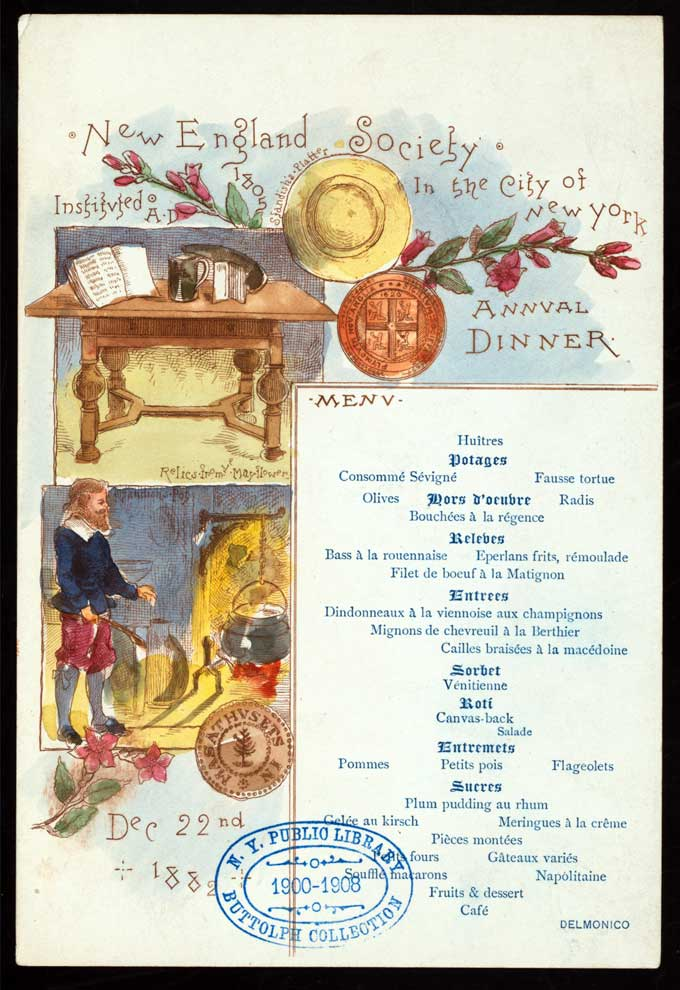 New England Society Dinner, 1882, Delmonico's