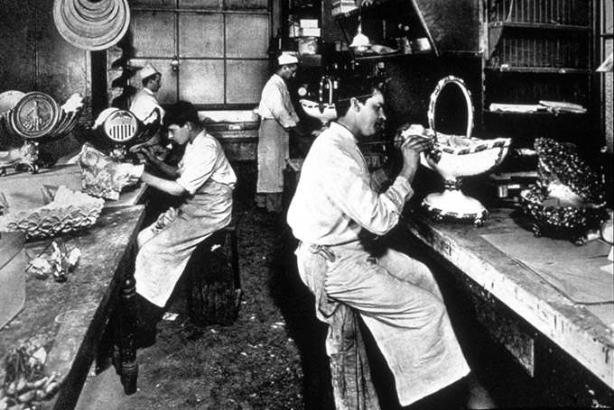 Photograph of a paste kitchen at a Delmonico's restaurant, taken in 1902.