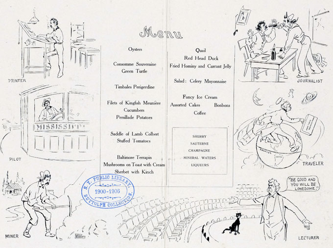 Mark Twain 70th Birthday Dinner menu, Delmonicos, 1905.