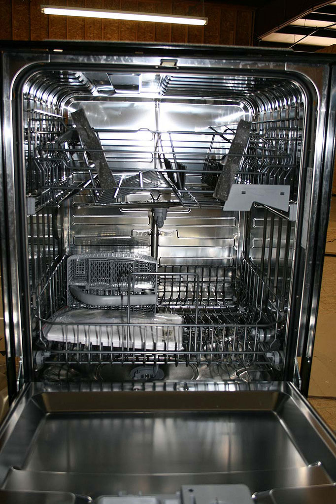 Stainless steel dishwasher interior