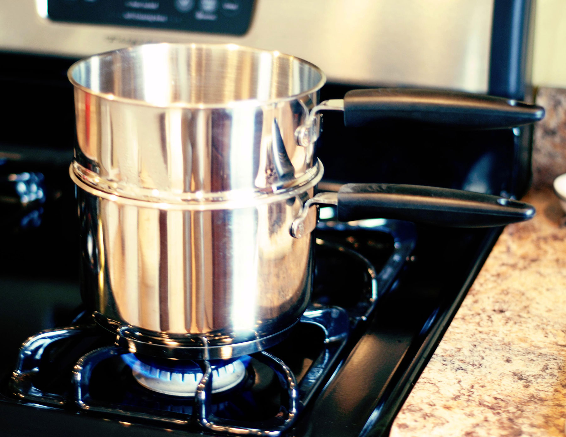 Double boiler on stove