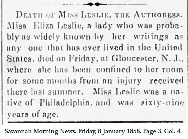 Eliza Leslie Obit.