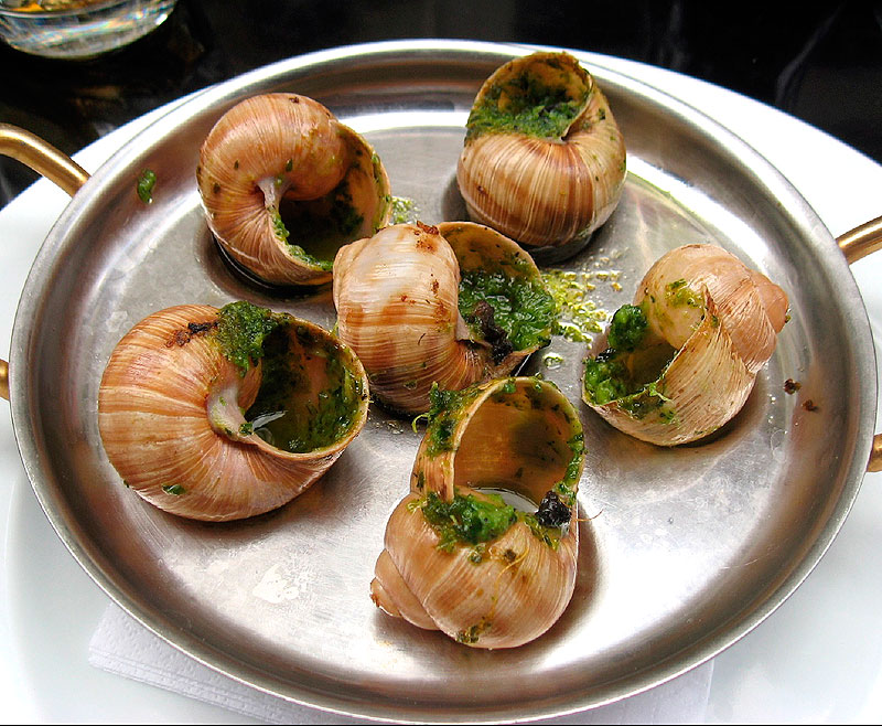 Escargot in their classic garlic and butter sauce