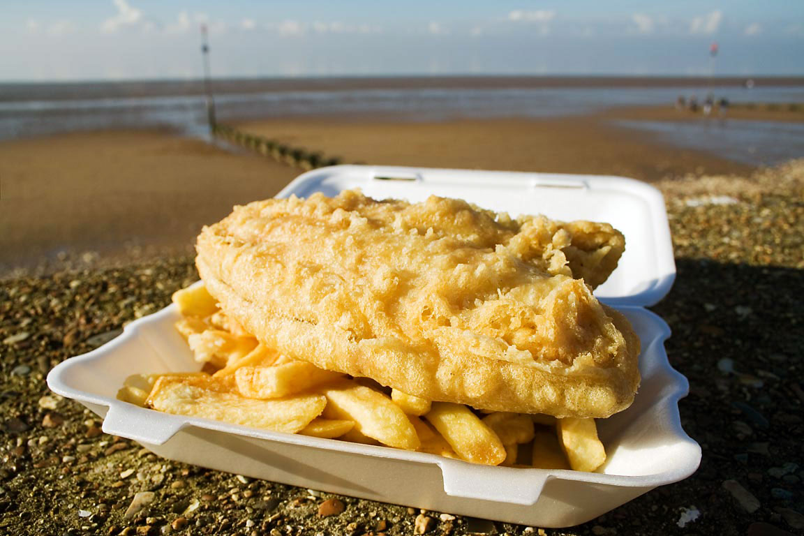 Fish (plaice) and chips at seafront