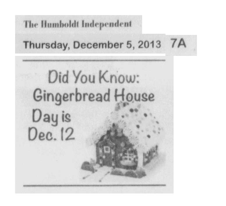 Gingerbread House Day in newspaper 2013
