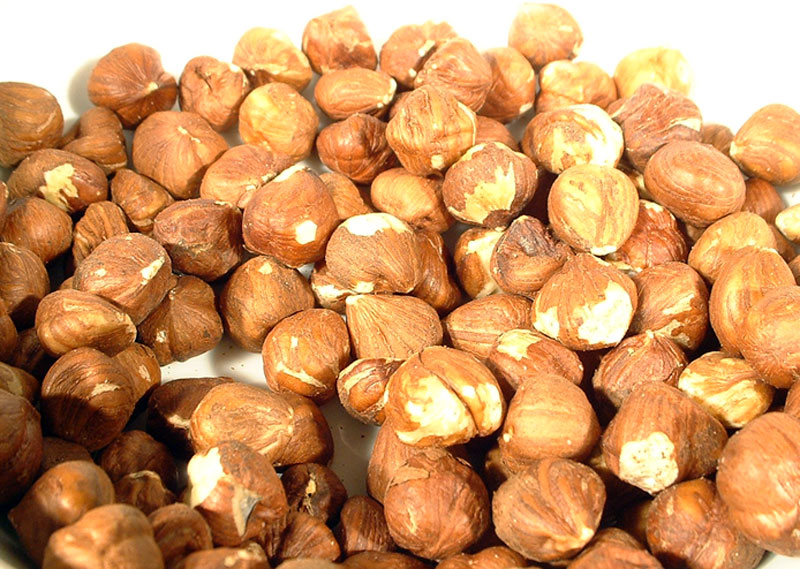 The brown skin on a hazelnut is bitter and must be removed