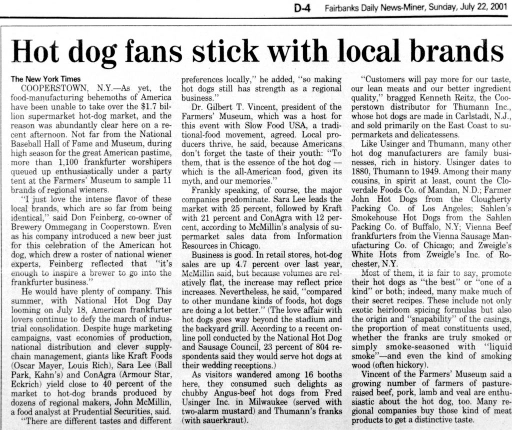 Hot dog fans stick with local brands