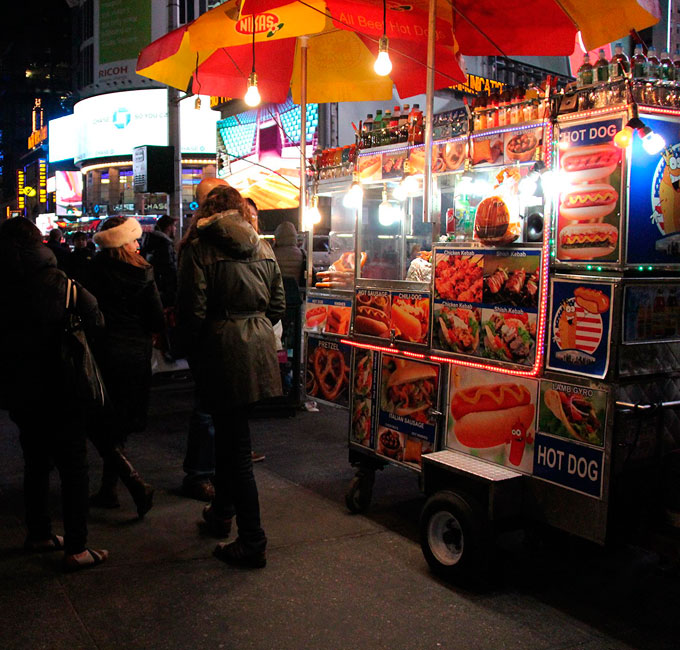Hot dog stand in New York City, 2015.