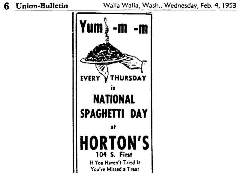 National Spaghetti Day 1953