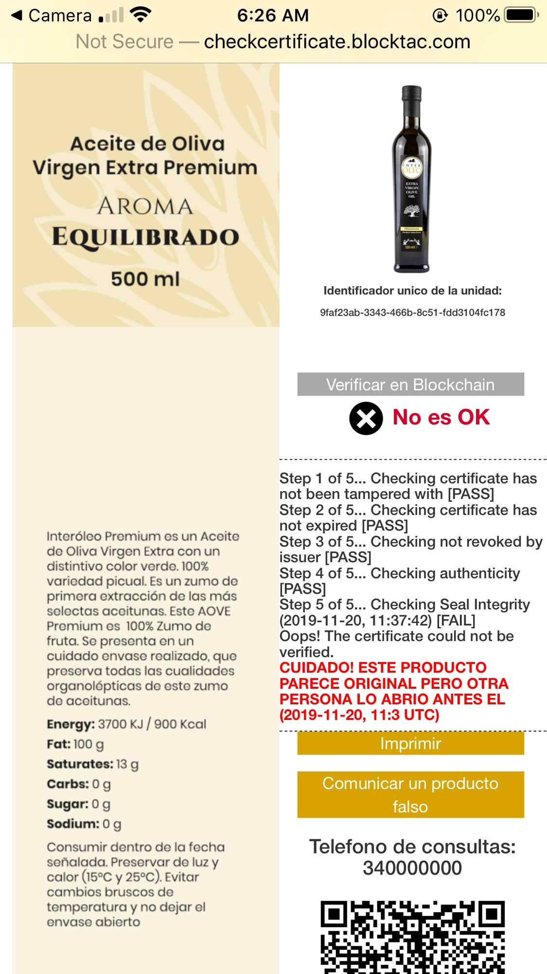 Olive oil QR code scanning results